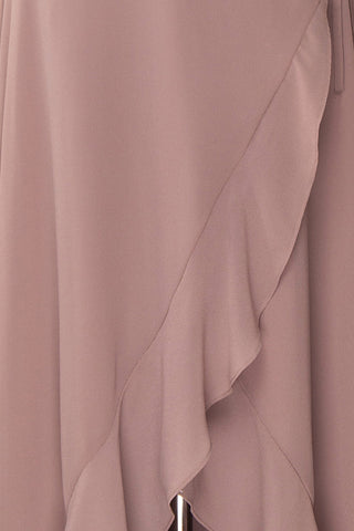 Destry Taupe Mauve Ruffled High-Low Maxi Wrap Dress fabric close up | Boudoir 1861