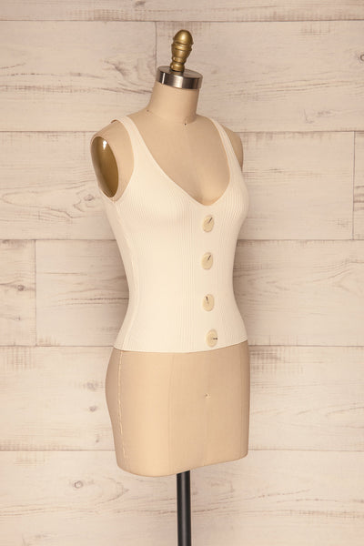Deurle Cream Ribbed Button-Up Camisole | La Petite Garçonne 3
