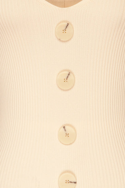 Deurle Cream Ribbed Button-Up Camisole | La Petite Garçonne 8