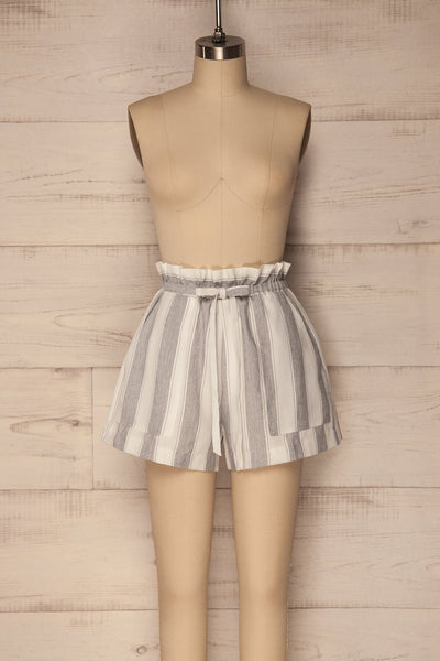 Diafanion White-Grey Striped High Waisted Shorts | La Petite Garçonne