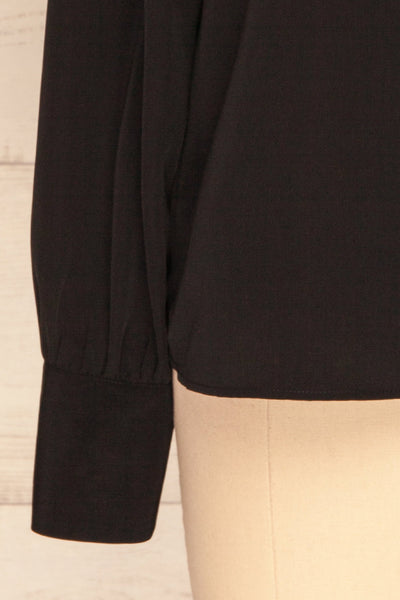 Diekirch Noir Black Blouse w/ Tied Collar | La Petite Garçonne bottom close-up