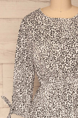 Digermulen Black and White Leopard Midi Dress | La Petite Garçonne front close-up