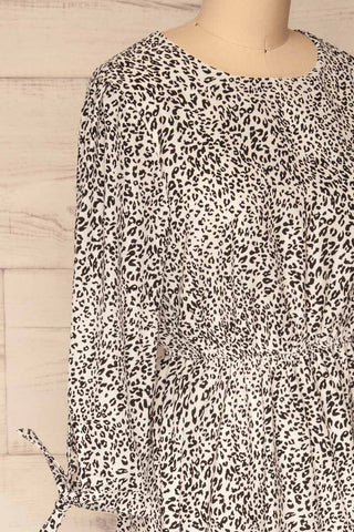 Digermulen Black and White Leopard Midi Dress | La Petite Garçonne side close-up