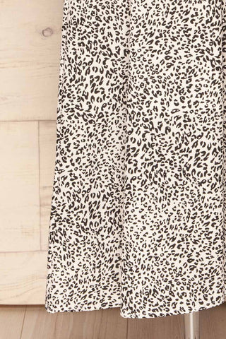 Digermulen Black and White Leopard Midi Dress | La Petite Garçonne bottom close-up