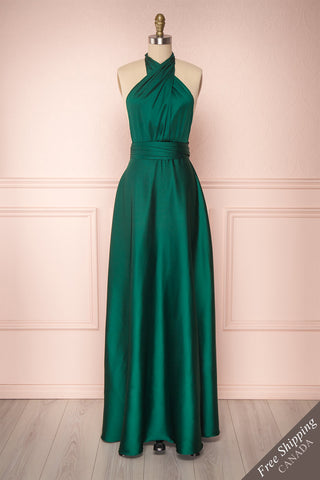 Dilcia Forest Green Convertible Maxi Dress | Boutique 1861