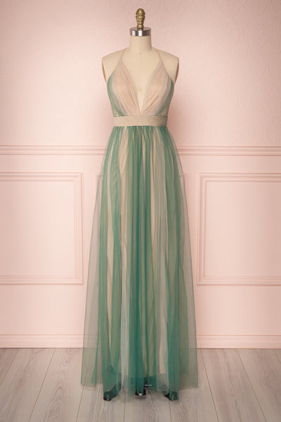 Ding Nymph Green Mesh Plunging Neckline Maxi Dress | Boutique 1861