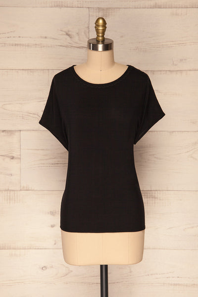 Dingja Black Short Sleeved Loose T-Shirt | La Petite Garçonne 1