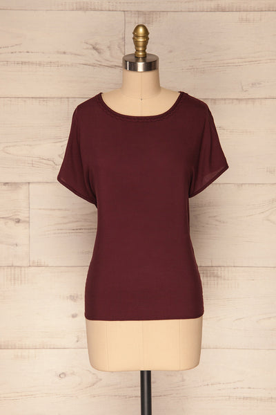 Dingja Burgundy Short Sleeved Loose T-Shirt | La Petite Garçonne 1