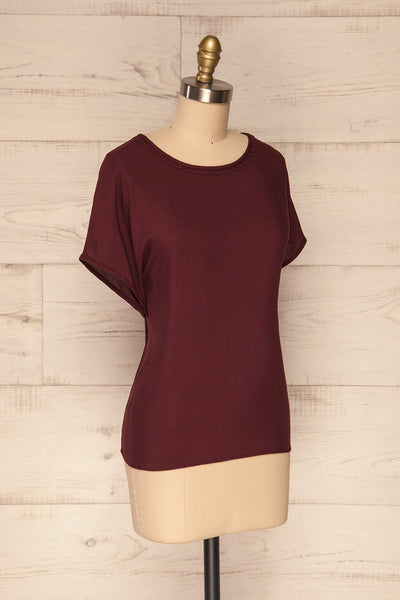 Dingja Burgundy Short Sleeved Loose T-Shirt | La Petite Garçonne 3