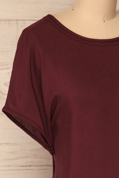 Dingja Burgundy Short Sleeved Loose T-Shirt | La Petite Garçonne 4