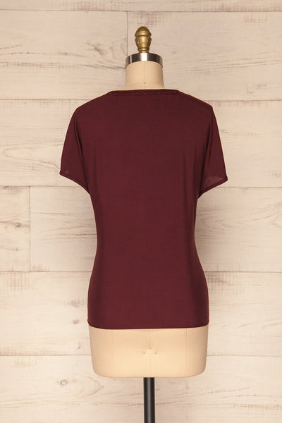 Dingja Burgundy Short Sleeved Loose T-Shirt | La Petite Garçonne 5