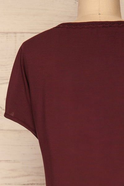 Dingja Burgundy Short Sleeved Loose T-Shirt | La Petite Garçonne 6