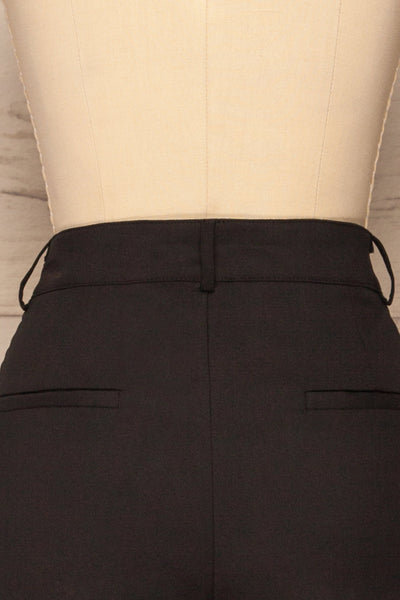 Dingsoyr Black Straight Leg Pants | La Petite Garçonne back close-up