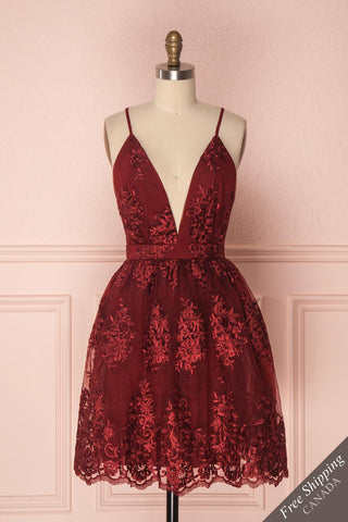 Dinora Burgundy Short Floral A-Line Dress | Boutique 1861