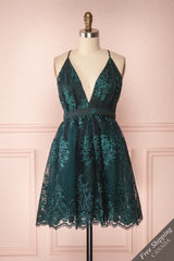Dinora Green Short Floral A-Line Dress | Boutique 1861