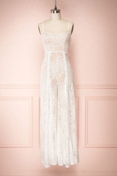 Dionisia Day White & Beige Lace Jumpsuit | Boutique 1861