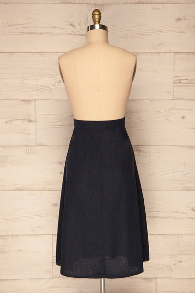 Disenaa Mer Navy Blue Button-Up Flare Skirt | La Petite Garçonne