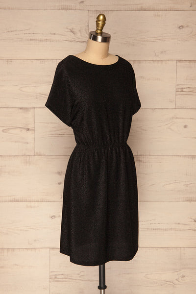 Dobele Black Sparkling Short Sleeve Dress | La petite garçonne side view