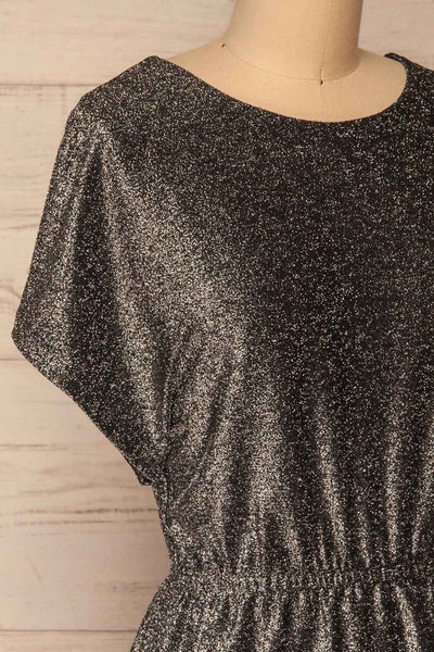 Dobele Silver Sparkling Short Sleeve Dress | La petite garçonne side close-up
