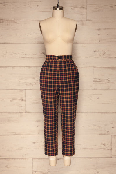 Dobrodzien Navy Blue, Beige & Red Plaid Pants | La Petite Garçonne front view