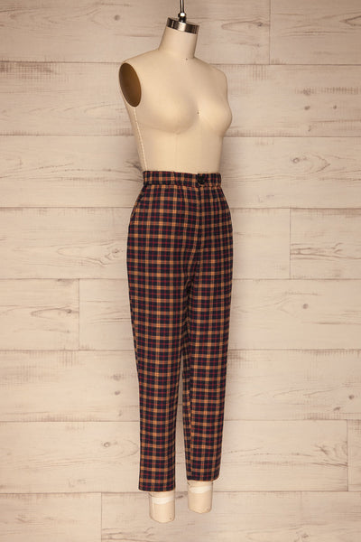 Dobrodzien Navy Blue, Beige & Red Plaid Pants | La Petite Garçonne side view