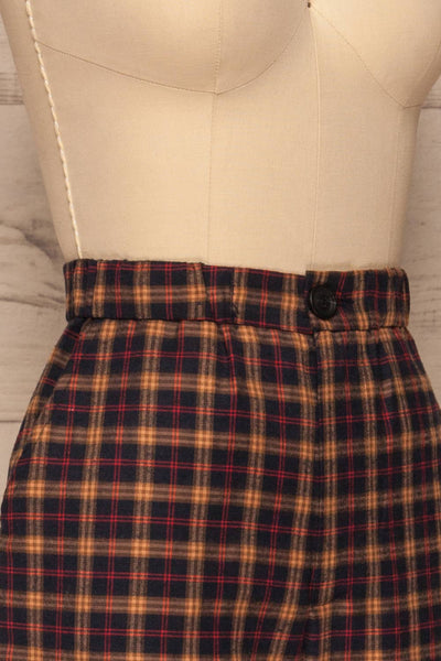 Dobrodzien Navy Blue, Beige & Red Plaid Pants | La Petite Garçonne side close-up