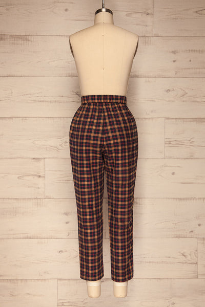 Dobrodzien Navy Blue, Beige & Red Plaid Pants | La Petite Garçonne back view