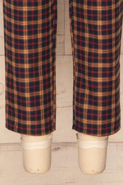 Dobrodzien Navy Blue, Beige & Red Plaid Pants | La Petite Garçonne bottom close-up