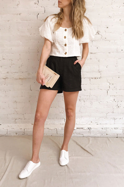 Capzol Pepper Black High Waist Shorts | La petite garçonne on model