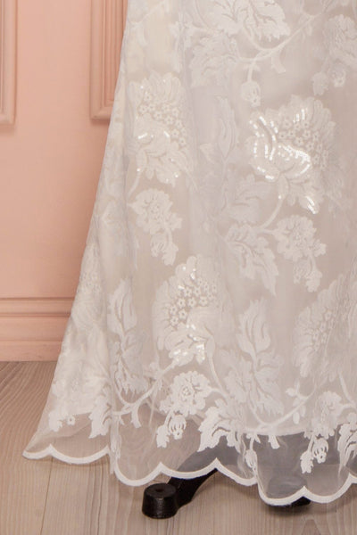 Dolenda - White sequined lace fitted gown