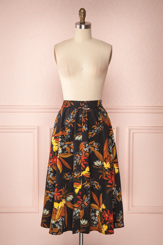 Domy Navy Blue Floral A-Line Midi Skirt | Boutique 1861 1