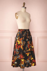 Domy Navy Blue Floral A-Line Midi Skirt | Boutique 1861 3