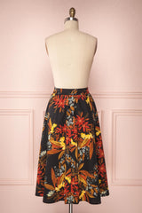 Domy Navy Blue Floral A-Line Midi Skirt | Boutique 1861 5