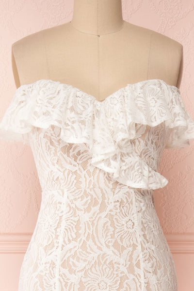 Donalda White Lace Mermaid Bridal Dress | Boudoir 1861 front close-up