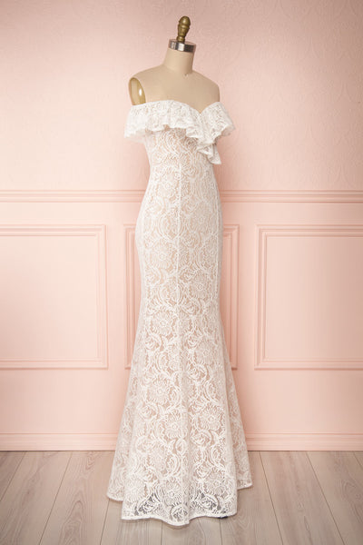Donalda White Lace Mermaid Bridal Dress | Boudoir 1861 side view