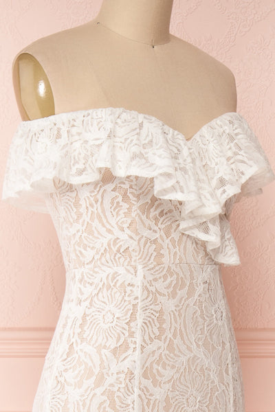 Donalda White Lace Mermaid Bridal Dress | Boudoir 1861 side close-up
