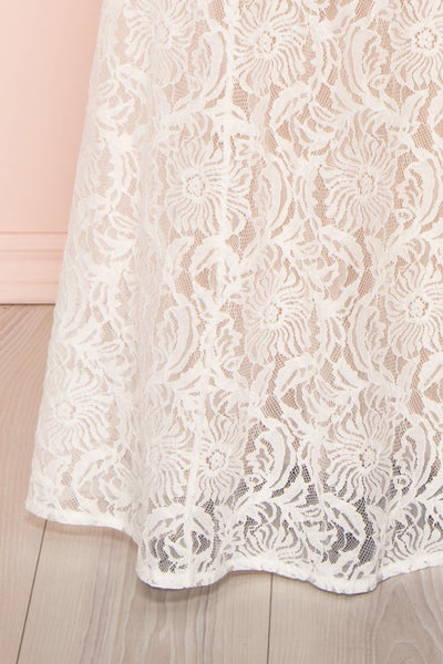 Donalda White Lace Mermaid Bridal Dress | Boudoir 1861 bottom close-up