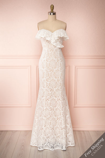 Donalda White Lace Mermaid Bridal Dress | Boudoir 1861 front view