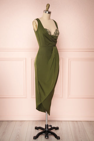 Dorete Olive Green Fitted Draped Cocktail Dress | Boutique 1861 3