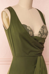 Dorete Olive Green Fitted Draped Cocktail Dress | Boutique 1861 4