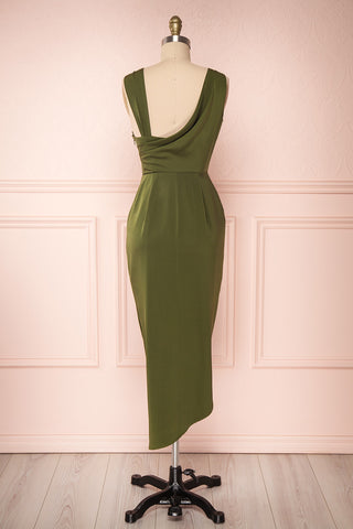 Dorete Olive Green Fitted Draped Cocktail Dress | Boutique 1861 5