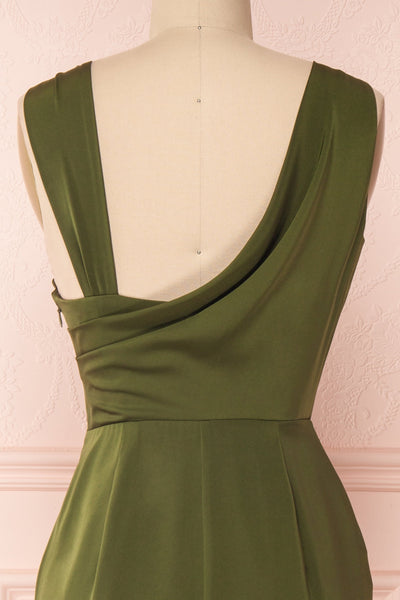 Dorete Olive Green Fitted Draped Cocktail Dress | Boutique 1861 6
