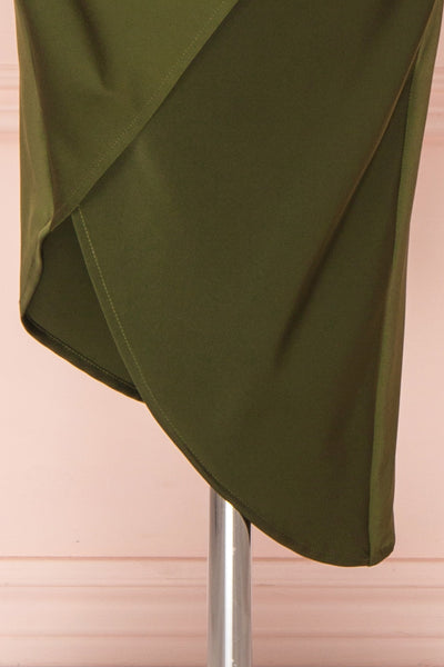 Dorete Olive Green Fitted Draped Cocktail Dress | Boutique 1861 7