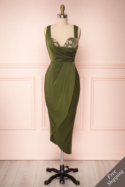 Dorete Olive Green Fitted Draped Cocktail Dress | Boutique 1861 1
