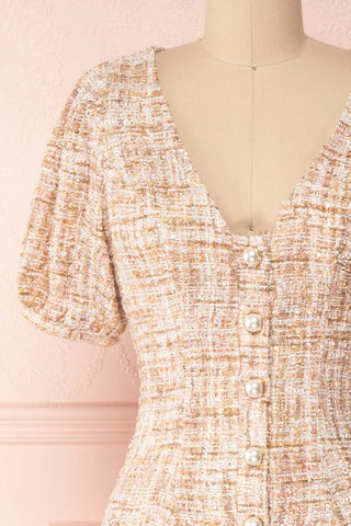 Dorothea Beige & Gold Tweed Dress | Robe Ajustée | Boutique 1861 front close-up