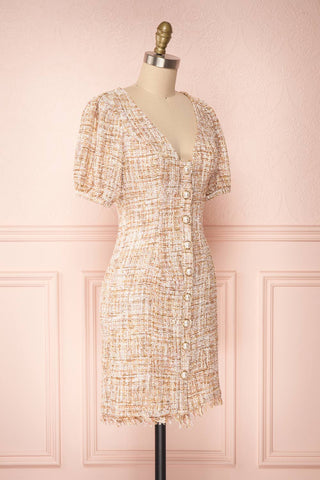 Dorothea Beige & Gold Tweed Dress | Robe Ajustée | Boutique 1861 side view
