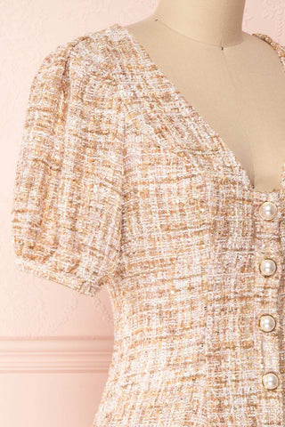 Dorothea Beige & Gold Tweed Dress | Robe Ajustée | Boutique 1861 side close-up