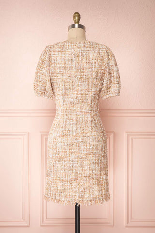Dorothea Beige & Gold Tweed Dress | Robe Ajustée | Boutique 1861 back view