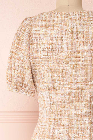 Dorothea Beige & Gold Tweed Dress | Robe Ajustée | Boutique 1861 back close-up