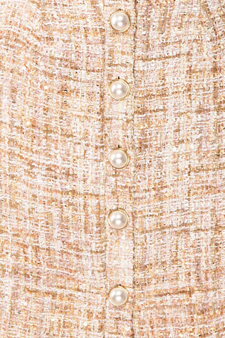Dorothea Beige & Gold Tweed Dress | Robe Ajustée | Boutique 1861 fabric detail